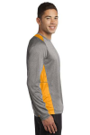 Vnt He Gold Sport-Tek Long Sleeve Heather Colorblock Contender Tee as seen from the sleeveright