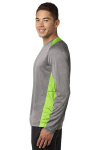 Vnt He Lime Sh Sport-Tek Long Sleeve Heather Colorblock Contender Tee as seen from the sleeveleft