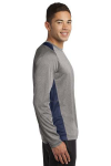 Vnt He Tr Navy Sport-Tek Long Sleeve Heather Colorblock Contender Tee as seen from the sleeveright