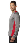 Vnt He Tr Red Sport-Tek Long Sleeve Heather Colorblock Contender Tee as seen from the sleeveleft