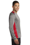 Vnt He Tr Red Sport-Tek Long Sleeve Heather Colorblock Contender Tee as seen from the sleeveright