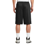 Black Sport-Tek Extra Long PosiCharge Classic Mesh ™ Short as seen from the back