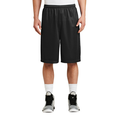 Black Sport-Tek Extra Long PosiCharge Classic Mesh ™ Short as seen from the front
