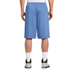 Carolina Blue Sport-Tek Extra Long PosiCharge Classic Mesh ™ Short as seen from the back
