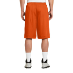 Deep Orange Sport-Tek Extra Long PosiCharge Classic Mesh ™ Short as seen from the back
