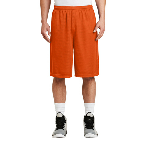 Deep Orange Sport-Tek Extra Long PosiCharge Classic Mesh ™ Short as seen from the front
