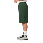 Forest Green Sport-Tek Extra Long PosiCharge Classic Mesh ™ Short as seen from the sleeveleft