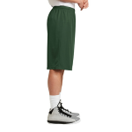 Forest Green Sport-Tek Extra Long PosiCharge Classic Mesh ™ Short as seen from the sleeveright