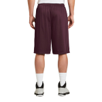 Maroon Sport-Tek Extra Long PosiCharge Classic Mesh ™ Short as seen from the back