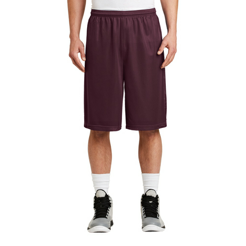 Maroon Sport-Tek Extra Long PosiCharge Classic Mesh ™ Short as seen from the front