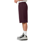 Maroon Sport-Tek Extra Long PosiCharge Classic Mesh ™ Short as seen from the sleeveleft