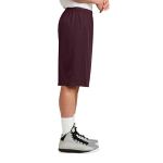 Maroon Sport-Tek Extra Long PosiCharge Classic Mesh ™ Short as seen from the sleeveright