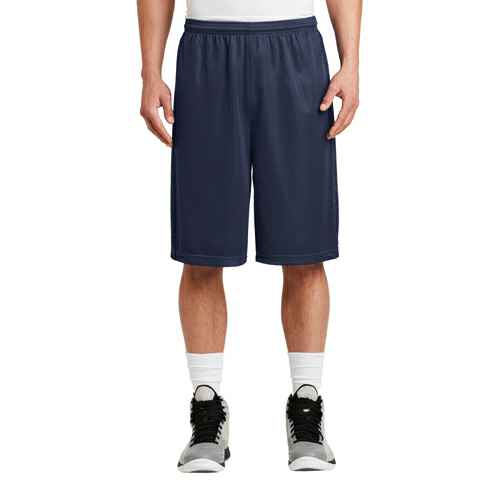 True Navy Sport-Tek Extra Long PosiCharge Classic Mesh ™ Short as seen from the front