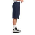 True Navy Sport-Tek Extra Long PosiCharge Classic Mesh ™ Short as seen from the sleeveright