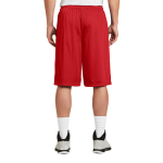 True Red Sport-Tek Extra Long PosiCharge Classic Mesh ™ Short as seen from the back