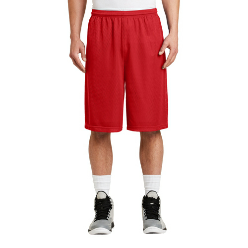 True Red Sport-Tek Extra Long PosiCharge Classic Mesh ™ Short as seen from the front