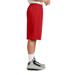 True Red Sport-Tek Extra Long PosiCharge Classic Mesh ™ Short as seen from the sleeveright