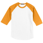 White Gold Sport-Tek Colorblock Raglan Baseball Jersey as seen from the front