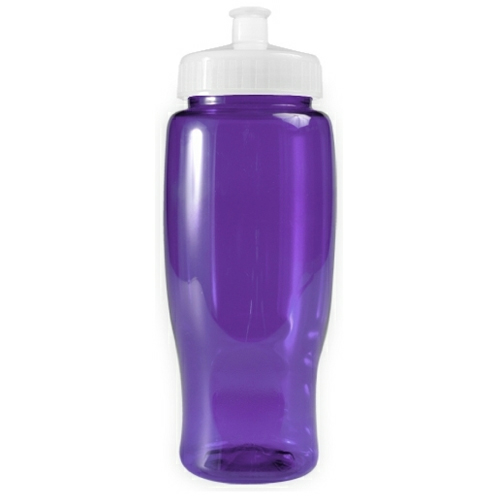 Transparent Violet/white Poly-Pure - 27 oz. Transparent Bottle as seen from the front