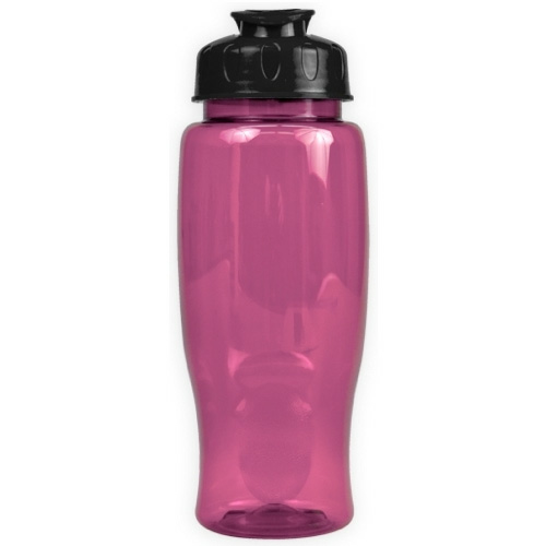 Transparent Pink/black Poly-Pure - 27 oz. Transparent Bottle - Flip Lid as seen from the front