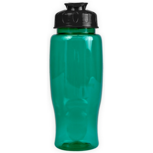 Transparent Teal/black Poly-Pure - 27 oz. Transparent Bottle - Flip Lid as seen from the front