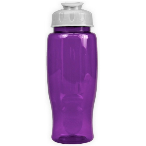 Transparent Violet/white Poly-Pure - 27 oz. Transparent Bottle - Flip Lid as seen from the front