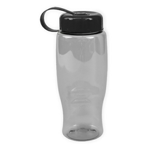 Clear/black Poly-Pure -27oz. Transparent Bottle -Tethered Lid as seen from the front
