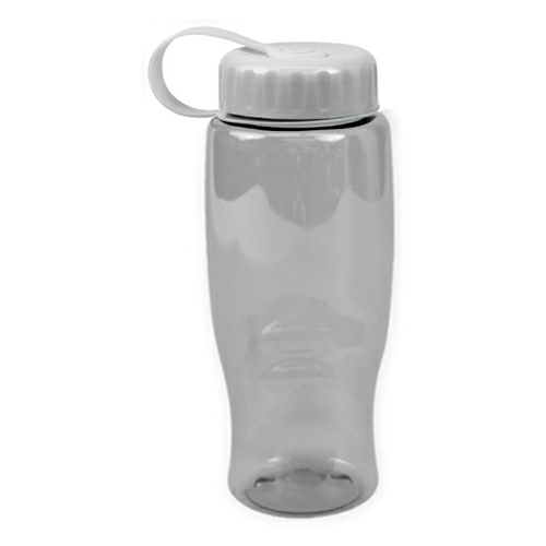 Clear/white Poly-Pure -27oz. Transparent Bottle -Tethered Lid as seen from the front