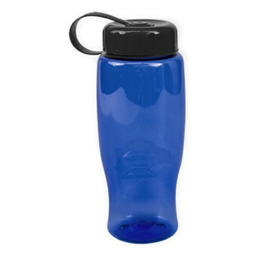 Transparent Blue/black Poly-Pure -27oz. Transparent Bottle -Tethered Lid as seen from the front