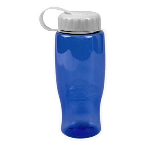 Transparent Blue/white Poly-Pure -27oz. Transparent Bottle -Tethered Lid as seen from the front