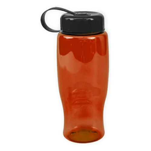 Transparent Orange/black Poly-Pure -27oz. Transparent Bottle -Tethered Lid as seen from the front