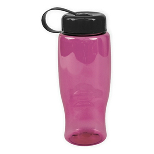Transparent Pink/black Poly-Pure -27oz. Transparent Bottle -Tethered Lid as seen from the front