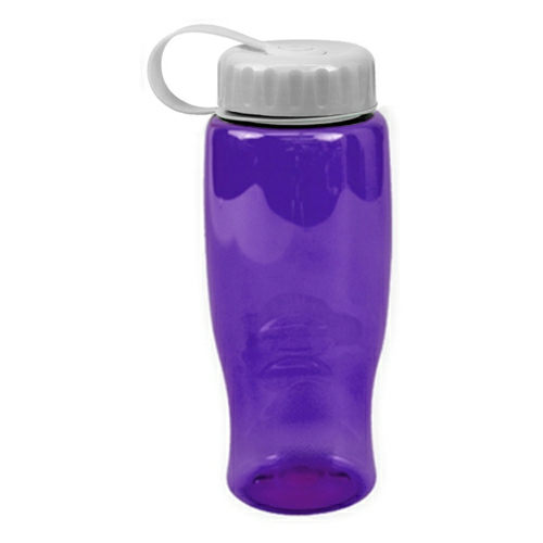 Transparent Violet/white Poly-Pure -27oz. Transparent Bottle -Tethered Lid as seen from the front