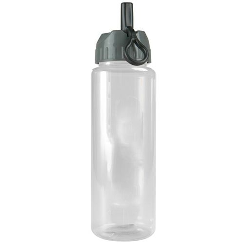 Clear/gray The Guzzler - 32 oz. Transparent Bottle- Flip Straw Lid as seen from the front