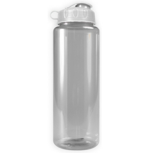 Clear/white The Guzzler - 32 oz. Transparent Bottle - Flip Lid as seen from the front