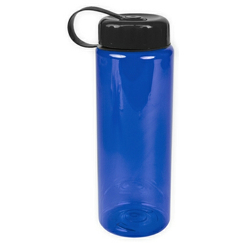 Transparent Blue/black The Guzzler - 32 oz. Trans. Bottle-Tethered Lid as seen from the front