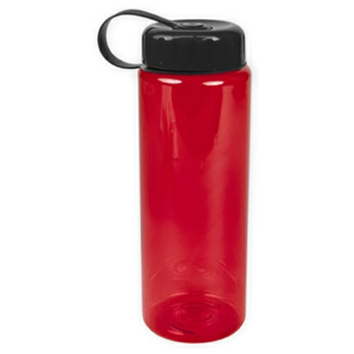 Transparent Red/black The Guzzler - 32 oz. Trans. Bottle-Tethered Lid as seen from the front