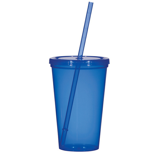 Transparent Blue The Patriot - 20 oz. Travel Tumbler as seen from the front