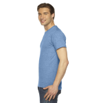 Athletic Blue MADE IN USA Unisex Triblend Short-Sleeve Track T-Shirt as seen from the sleeveright