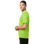 Lime Shock Sport-Tek Tall Competitor Tee as seen from the sleeveleft