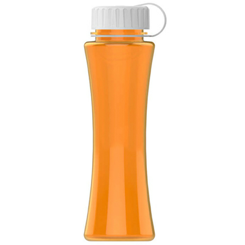 Translucent Orange/white The Curve - 17 oz. Tritan Bottle -Tethered Lid as seen from the front