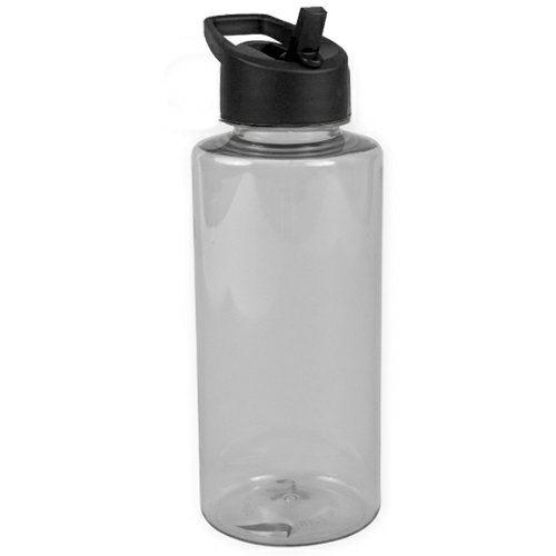 Clear/black 36 oz. Tritan Mountaineer - with Flip Straw Lid as seen from the front