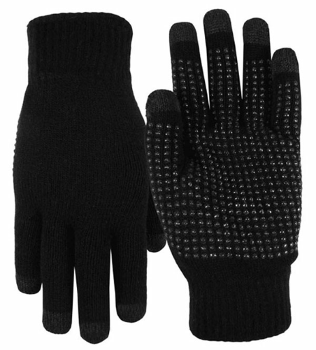 Black Texting-Touch Screen Gloves - 5 Finger as seen from the front