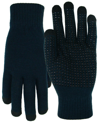 Navy Texting-Touch Screen Gloves - 5 Finger as seen from the front