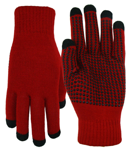 Red Texting-Touch Screen Gloves - 5 Finger as seen from the front