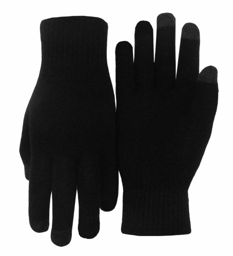Black Texting-Touch Screen Gloves - 3 Finger as seen from the front