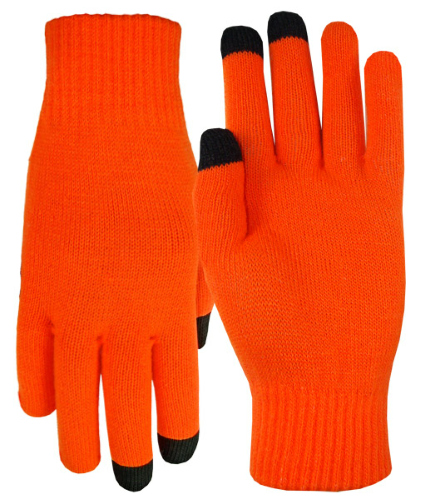 Fluorescent Orange Texting-Touch Screen Gloves - 3 Finger as seen from the front