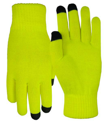Fluorescent Yellow Texting-Touch Screen Gloves - 3 Finger as seen from the front