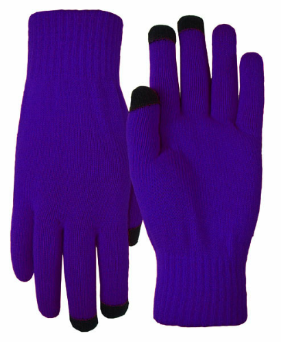 Purple Texting-Touch Screen Gloves - 3 Finger as seen from the front
