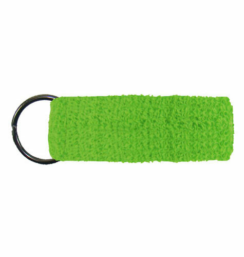 Bright Green Mini Wristband Keyrings  as seen from the front